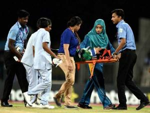 Pakistan's player Javeria Khan  is carried away on a stretcher after hit a ball on her head by West  Indies' bowler Shamilia Connell during the ICC Women's World T20 match at MAC Stadium