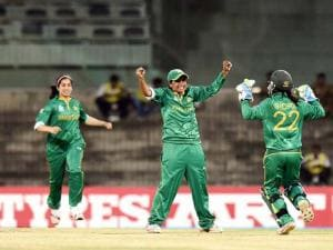 Pakistan's player  Sadia Yousuf Celebrating for the wicket of West Indies' Deandra Dottin during the ICC Women's World T20 match at MAC Stadium