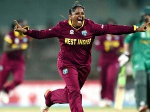 West  Indies player Anisa Mohammed celebrating for the  wicket of Pakistan's Bismah Maroof during the ICC Women's World T20 match at MAC Stadium
