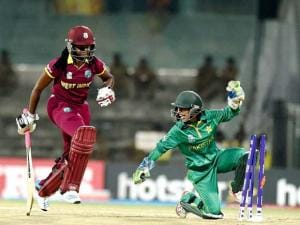 West  Indies player Shaquana Quintyne being run out by Pakistan's Sadia Yousuf during the ICC Women's World T20 match at MAC Stadium in Chennai