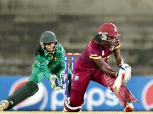 West Indies' skipper Stafanie Taylor plays a shot during the ICC_Women's World T20 match against Pakistan at MAC Stadium