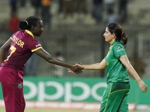 West  Indies' Skipper Stafanie Taylor shacking hands with Pakistan' Skipper Sana Mir after win over  during the ICC Women's World T20 match at MAC Stadium