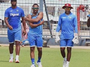 West Indies cricketers during a practice session_of T 20 World Cup at Eden Garden in Kolkata