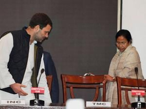Congress Vice President Rahul Gandhi and  Mamata Banerjee during joint press conference