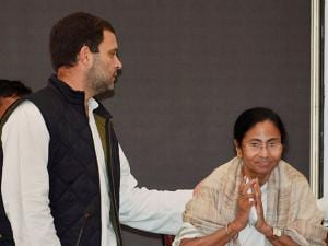 Congress Vice President Rahul Gandhi and West Bengal Chief Minister Mamata Banerjee during joint press conference