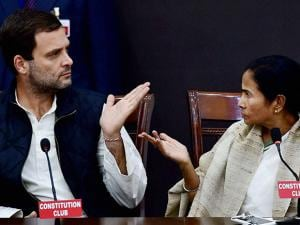 Rahul Gandhi and Mamata Banerjee during joint press conference