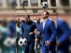 Former Indian football captain Baichung Bhutia along with MP and former footballer Prasoon Banerjee