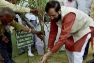 Prakash Jawadekar, Minister of Environment & Forests and Climate Change, plants a tree inside zoo