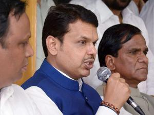 Chief Minister of Maharashtra Devendra Fadanvis addresses the party workers after the BMC poll results