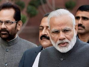 Narendra Modi talking to the media at the opening day of the winter session of Parliament