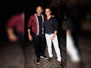 Akshay Kumar with Hollywood actor Will Smith during a party in Mumbai