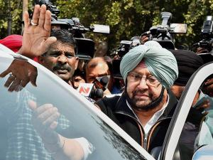 Punjab Congress President Capt Amrinder Singh leaves after meeting