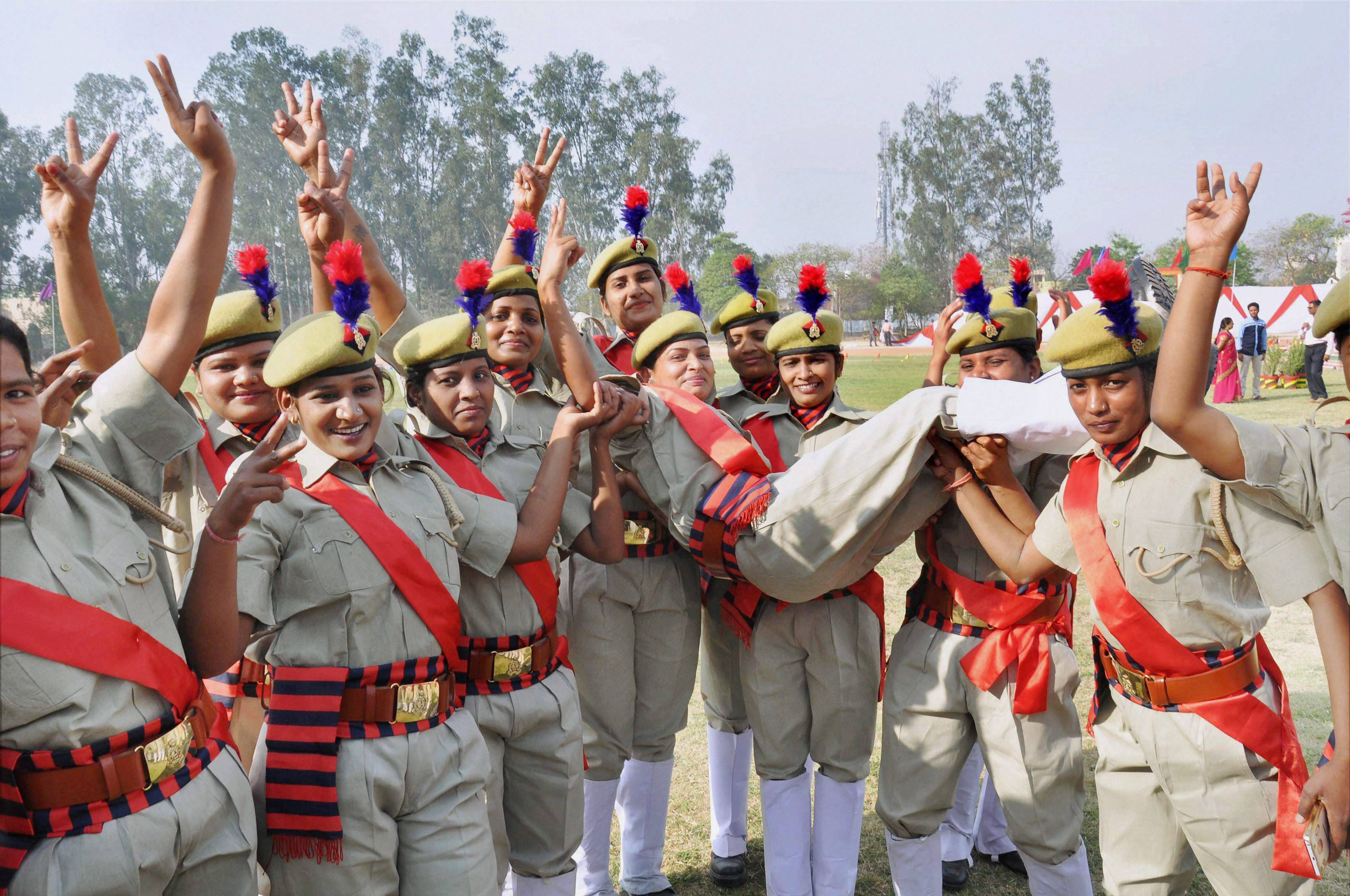 PAC, Female police personnel, 23 battalion, passing out parade, Moradabad