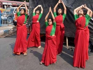 Members of Ananda Marga at an event to mark International Women's Day in Kolkata