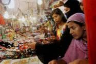 Women shopping in the old city market ahead of Eid