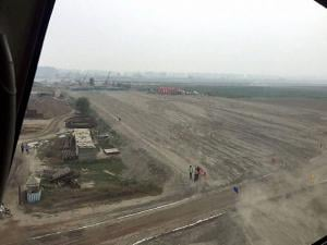 Construction work undeway on Eastern Peripheral Expressway at Sonipat