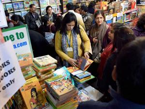 Readers explore books of various categories at the World book Fair