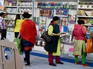 Readers explore books of various categories at the World book Fair in Pragati Maidan