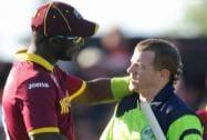 Ireland's Niall O'Brien, right, shakes hands with West Indies' Darren Sammy