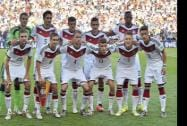 The German team poses for a group photo before the World Cup final Soccer