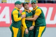 Kyle Abbott,  and David Miller after taking a catch to dismiss Pakistan's Umar Akmal