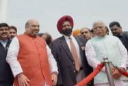 Amit Shah, Haryana Chief Minister Manohar Lal Khattar and  Ranbir Kapoor