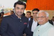 Haryana Chief Minister Manohar Lal Khattar with Bollywood Actor Ranbir Kapoor