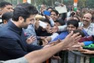 Ranbir Kapoor interacts with fans during the inauguration of a 250 foot tricolour