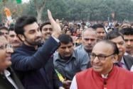 Ranbir Kapoor waves to his fans during the inauguration of a 250 foot tricolour