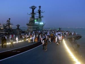 A view of INS Viraat after it's decommissioning ceremony at naval dockyard