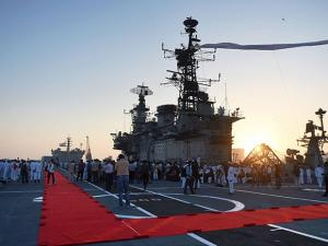 A view of INS Viraat after it's decommissioning ceremony at naval dockyard in Mumbai