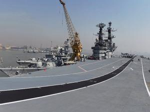 A view of the aircraft carrier INS Viraat docked at the Naval Dockyard ahead of its decommissioning