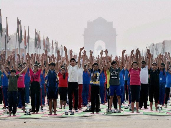 Yoga, World Yoga Day, International Yoga Day, India Gate, Rajpath, MCD, New Delhi, Raisina Hill