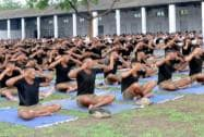 Army personnel participate in a rehearsal for International Yoga Day