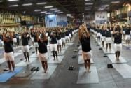 Indian Navy officers and saliors practice for the upcomming International Yoga day