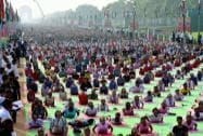 Transgenders take part in a Yoga session ahead of the World Yoga Day