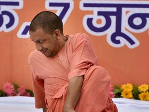 Yogi Adityanath participates in a yoga practice session