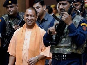 UP Chief Minister Yogi Adityanath coming out after the cabinet meeting at Lok Bhawan