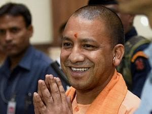 UP Chief Minister Yogi Adityanath coming out after the cabinet meeting at Lok Bhawan in Lucknow