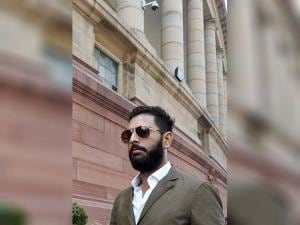 Cricketer Yuvraj Singh at Parliament during the winter session