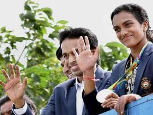 Olympic Silver Medalist P.V.Sindhu with her Coach Gopi Chand