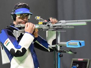 Abhinav Bindra competes in the Men's 10m Air Rifle Final