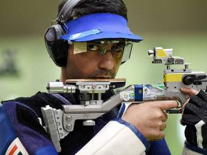 Abhinav Bindra competes in the Men's 10m Air Rifle qualifying round at Rio Olympics 2016