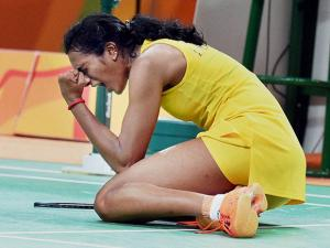 Pusarla V Sindhu celebrates her win at Rio Olympic