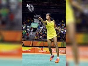 Pusarla V Sindhu plays a shot in women's singles quarter-finals at Rio
