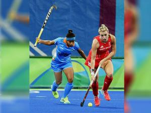 Indian and Great Britain Women Hockey players