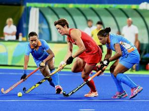 Indian and Great Britain Women Hockey players at  Rio Olympics 2016