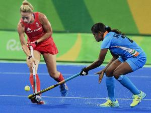 Indian and Great Britain Women Hockey players during their match at Rio Olympics 2016