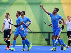 Rupinder celebrates after a goal against Germany at Rio Olympics 2016