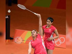 Jwala Gutta  and Ashwini Ponnappa play Women Double